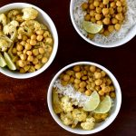 golden chickpeas and curried cauliflower