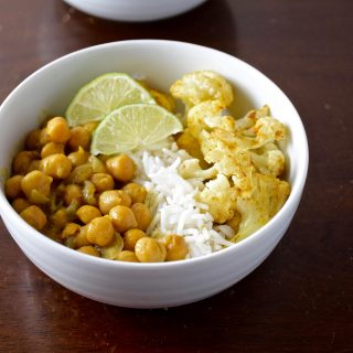 golden chickpeas and curry roasted cauliflower