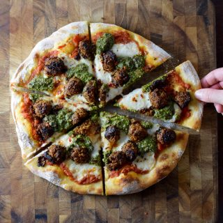 Vegan Meatball Pesto Pizza