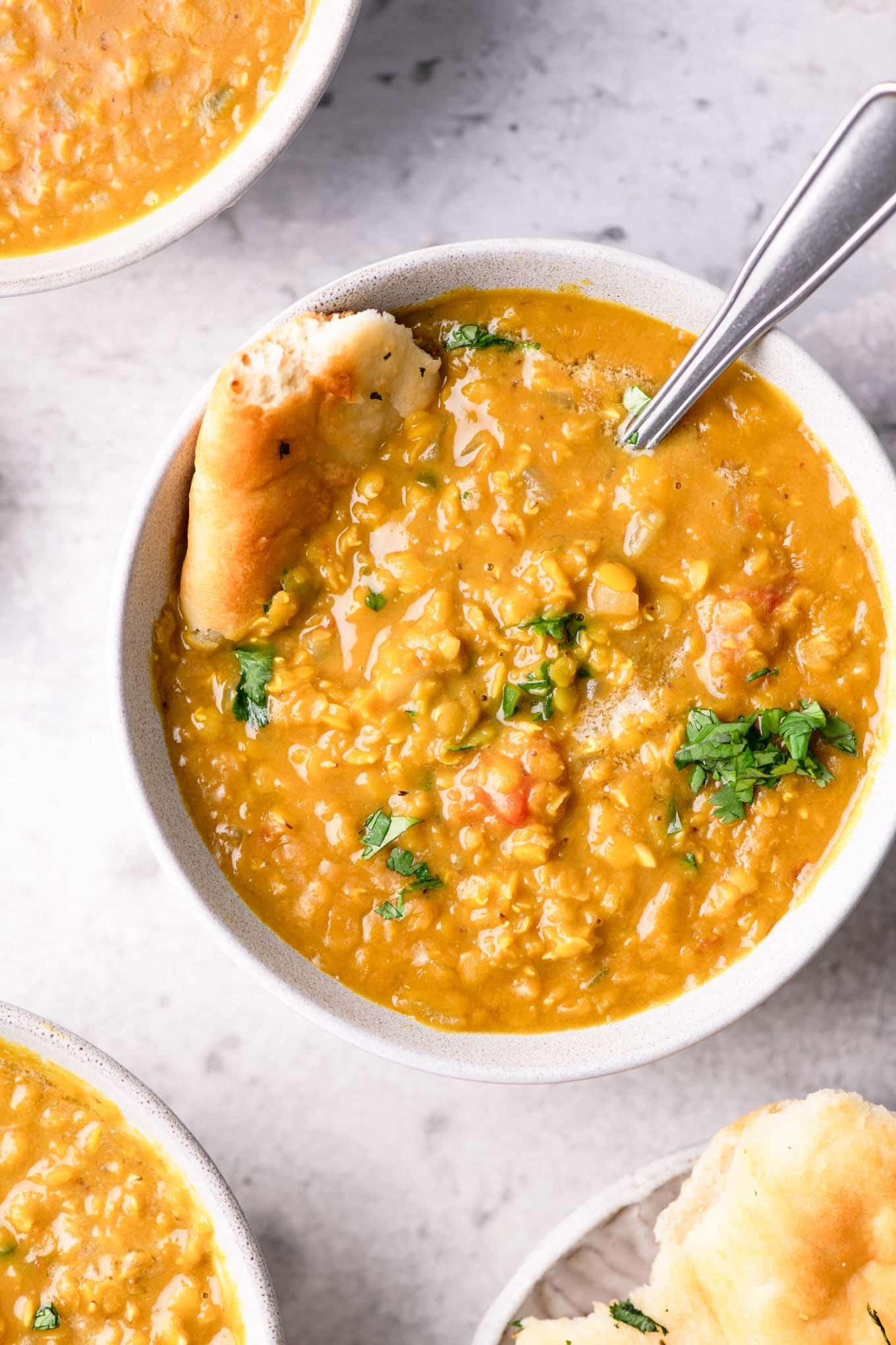 bowl of red lentil soup