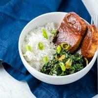 Chipotle Barbecue Tofu with Smokey Collard Greens
