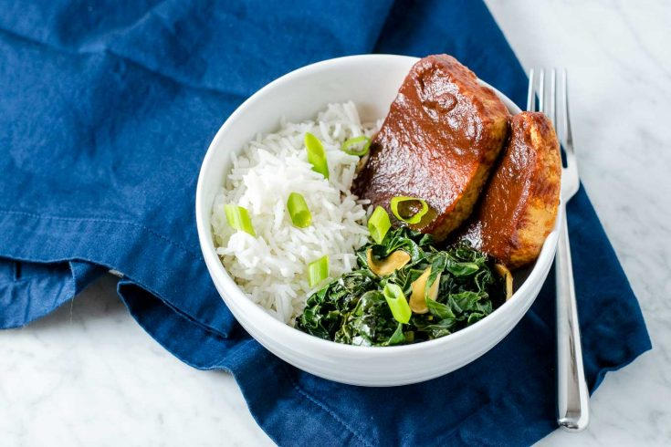 chipotle barbecue tofu with smoky collard greens
