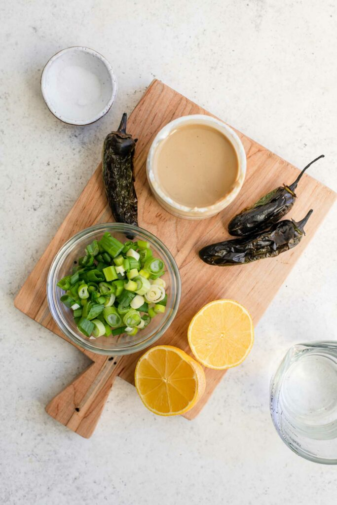 ingredients for tahini-roasted jalapeño dressing