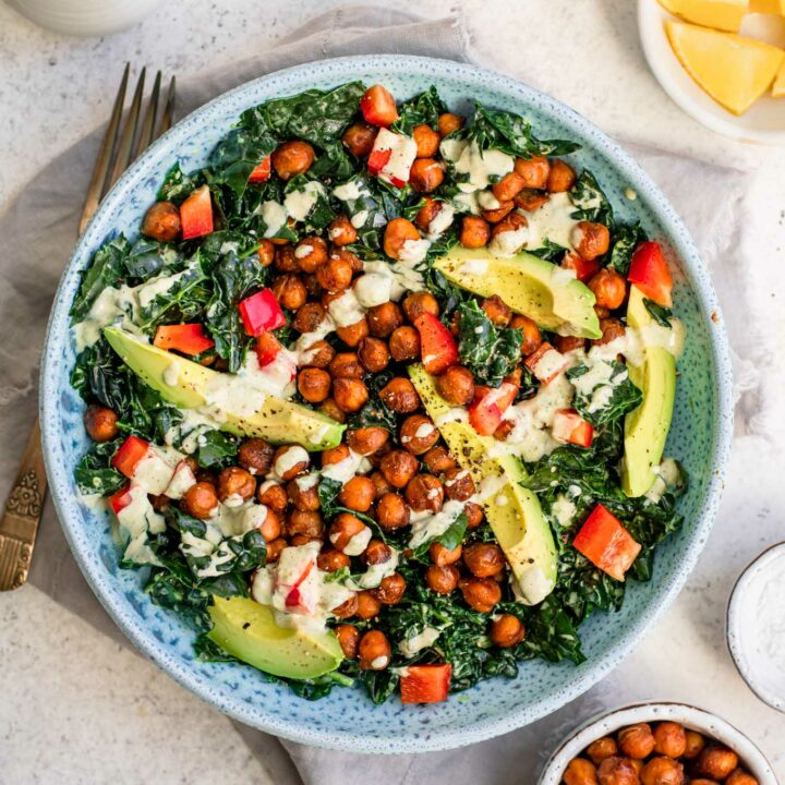 kale salad with roasted jalapeño dressing and smoky chickpeas