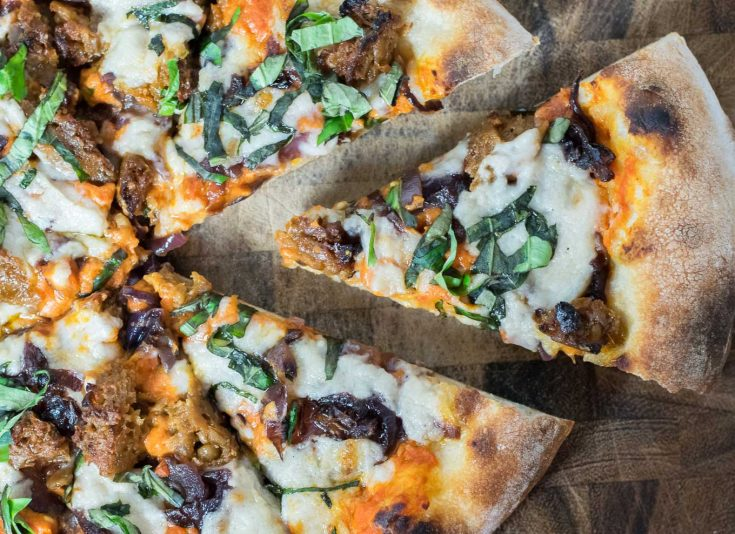 Vegan Cheeseburger Pizza Vodka Sauce Caramelized Onions