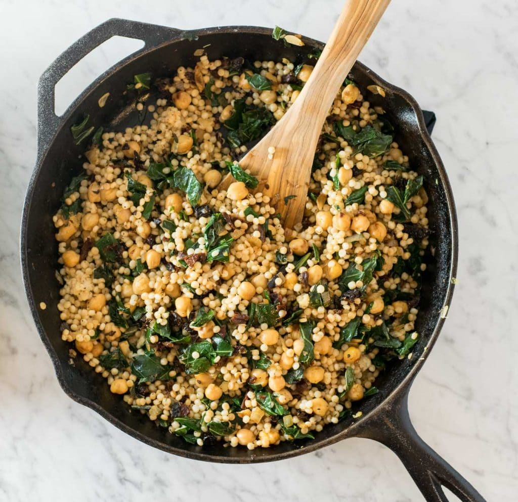 chickpeas, sundried tomatoes, collard greens, and couscous