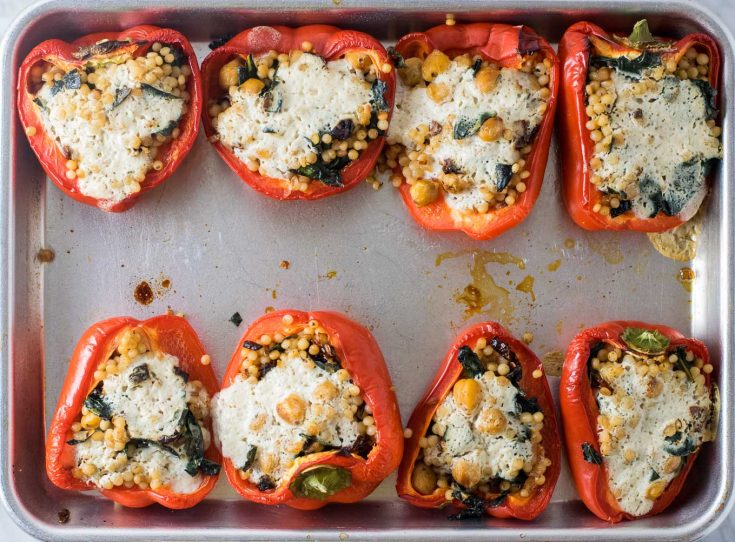 chickpea and couscous stuffed red bell peppers