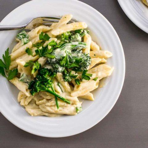 penne white wine cream sauce broccolini