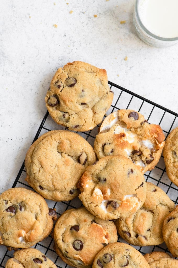 cookies piled on cooling rack