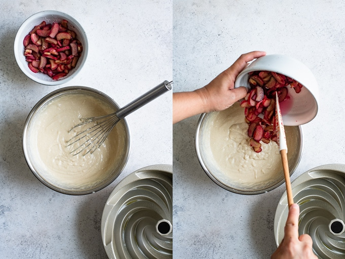 a collage of two photos: on the left the batter prepared, the rhubarb in sugar, and a prepared bundt pan. On the right the rhubarb is being added to the cake batter