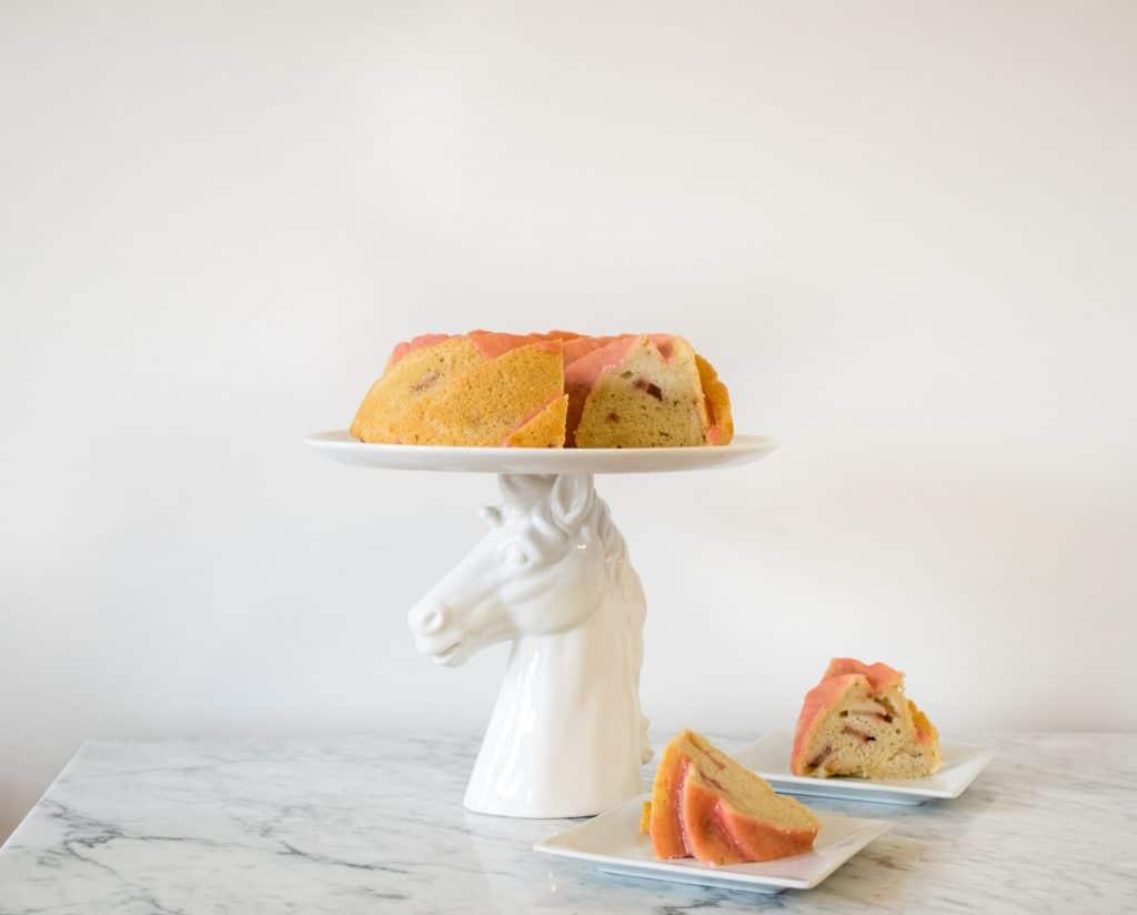 vegan almond rhubarb bundt cake