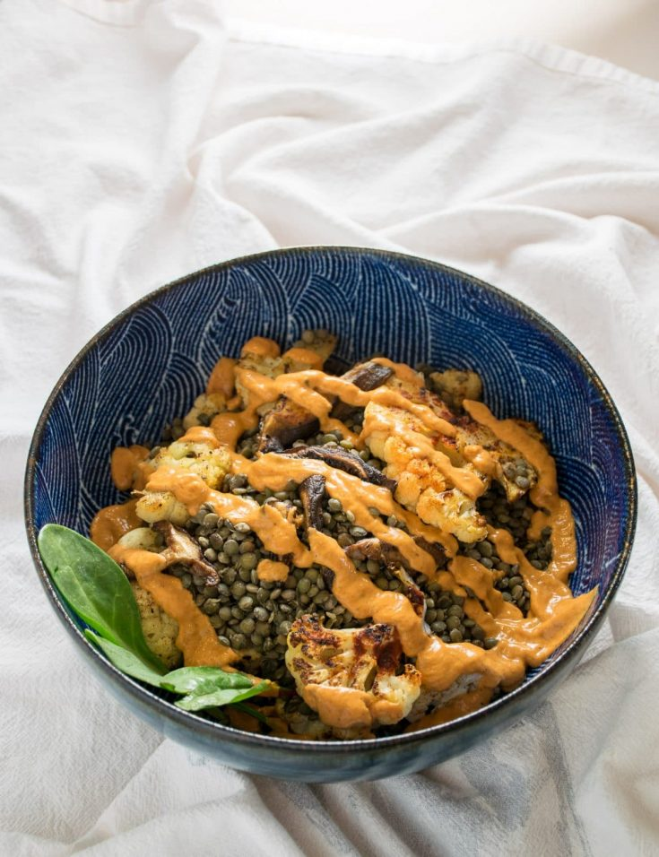 Roasted cauliflower with french lentils and a smoky Red Pepper Sauce