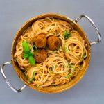spaghetti sun dried tomato cream chickpea meatballs
