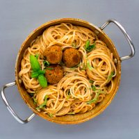 Spaghetti with Sun Dried Tomato Cream and Chickpea Meatballs