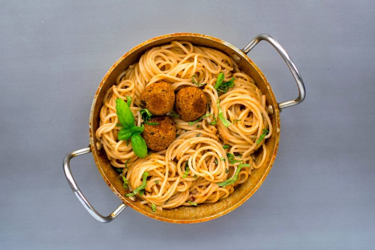 Spaghetti with sun dried tomato cream sauce and chickpea meatballs
