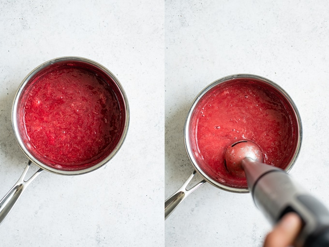 collage of the compote, on the left the hot pink compote before being blended, on the right an immersion blender is blending the compote smooth