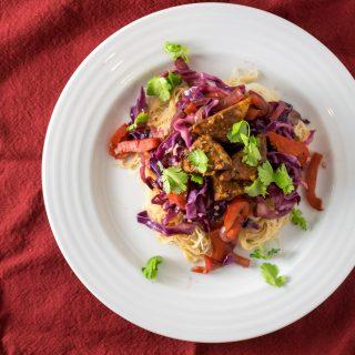 tamarind glazed tempeh stir fried vegetables rice noodles