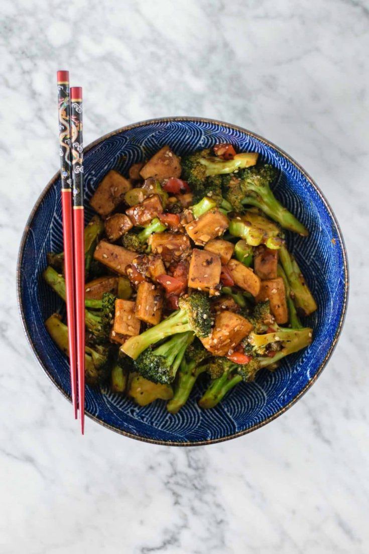 broccoli and tofu in a black bean sauce