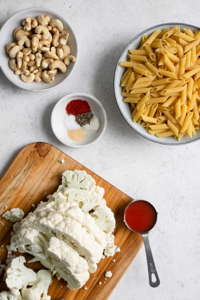 ingredients for buffalo cauliflower penne with cauliflower cut into 1-inch thick slices
