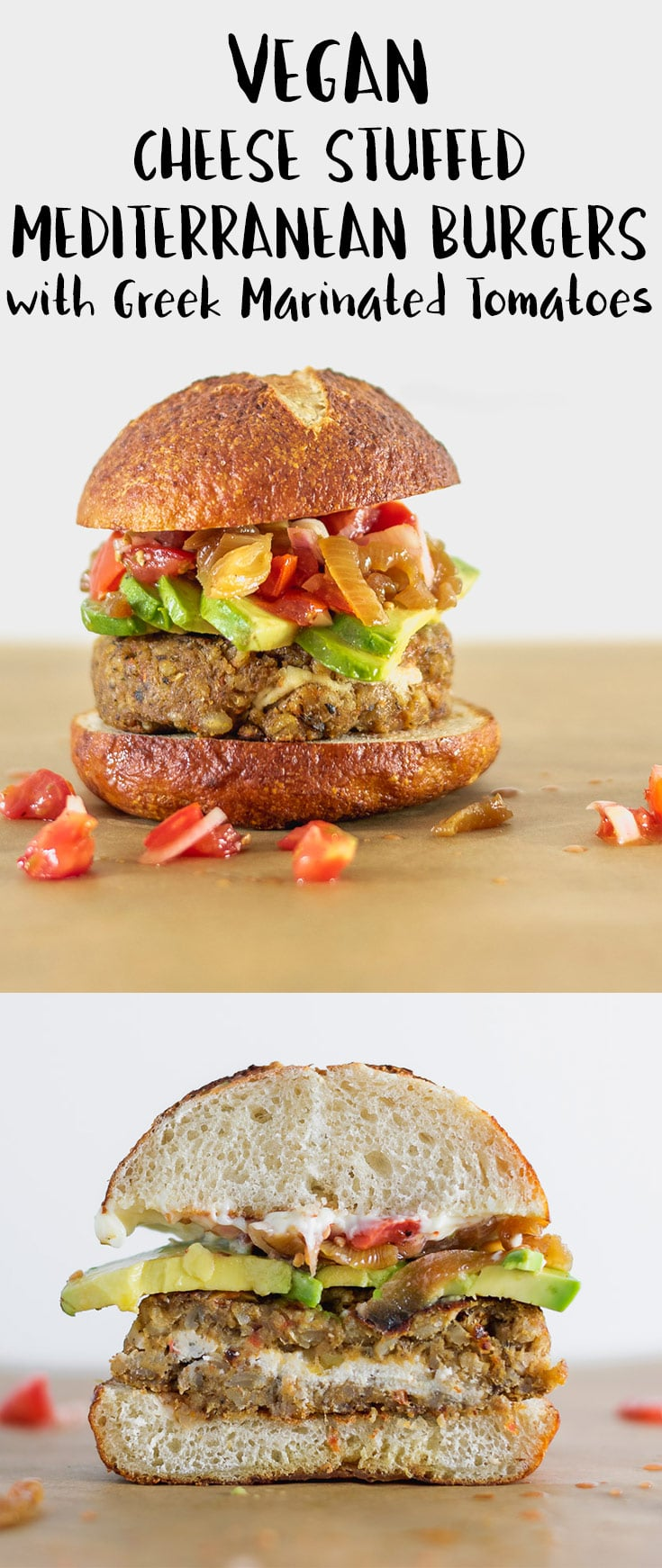 These chewy, juicy vegan chickpea burgers are packed with mediterranean flavor, stuffed with almond cheese, and served with greek marinated tomatoes | thecuriouschickpea.com #vegan #veganburger #veggieburger