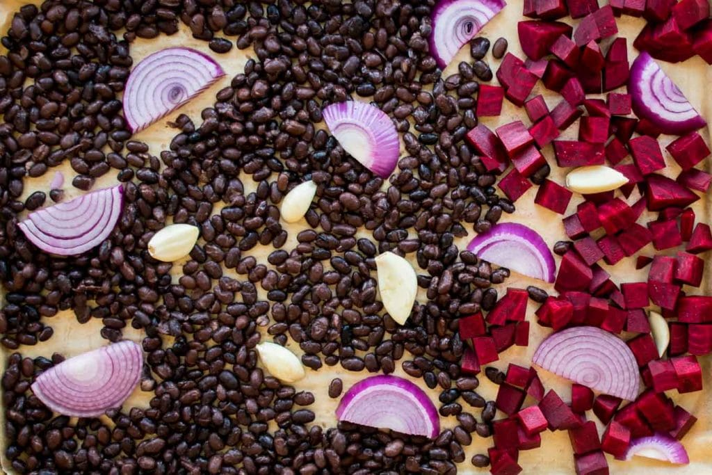 black beans, beets, garlic, red onion for roasting