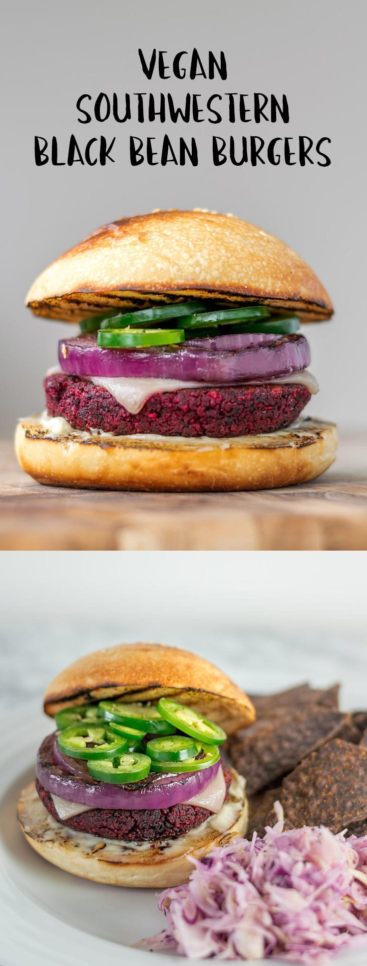 The flavor is amped up in these mouthwatering, spicy vegan southwestern black bean burgers. Super healthy and packed full of good for you ingredients. | thecuriouschickpea.com #vegan #veggieburgers