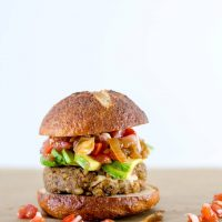 Stuffed Mediterranean Veggie Burgers with Greek Marinated Tomatoes
