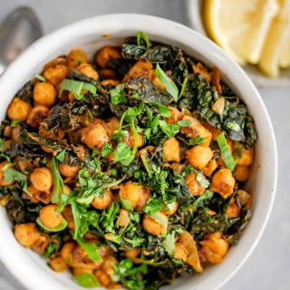 Indian spiced chickpeas and greens