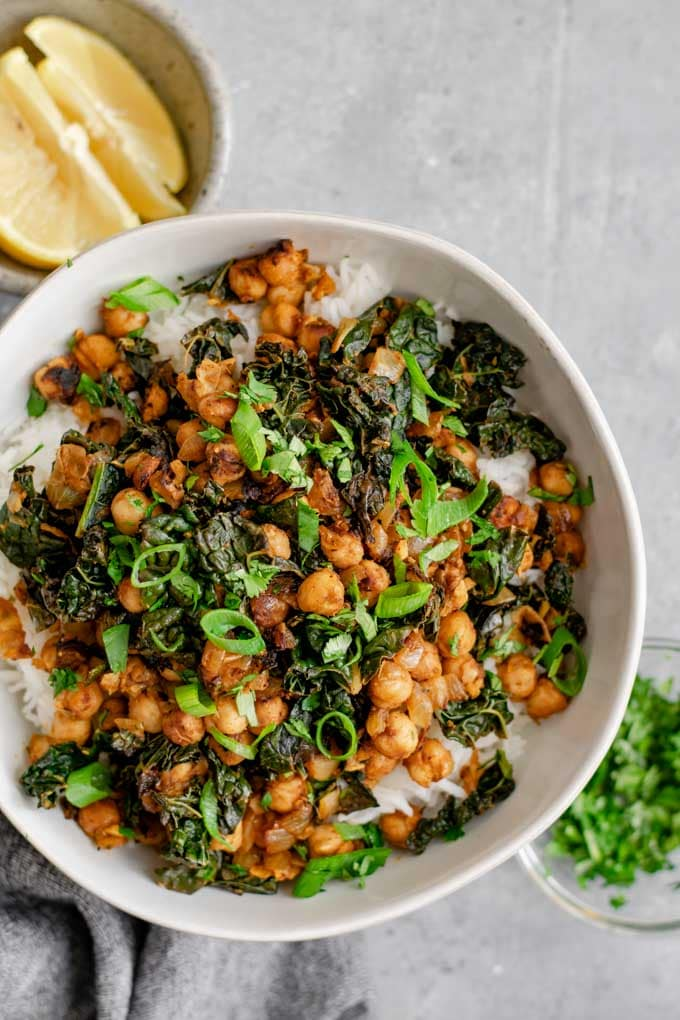 Indian curried chickpeas and greens served with basmati rice