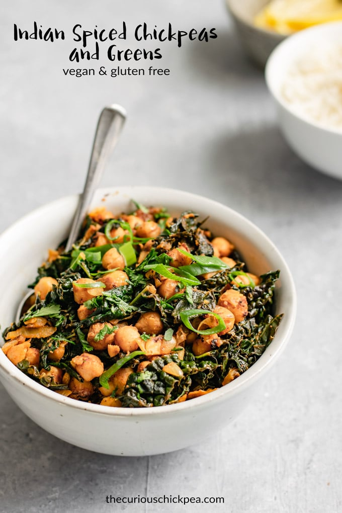 This easy, delicious recipe for curried chickpeas can be made with your favorite leafy greens. It's quick to make, vegan, and gluten free! #thecuriouschickpea #curry #Indianfood #kale #chickpeas