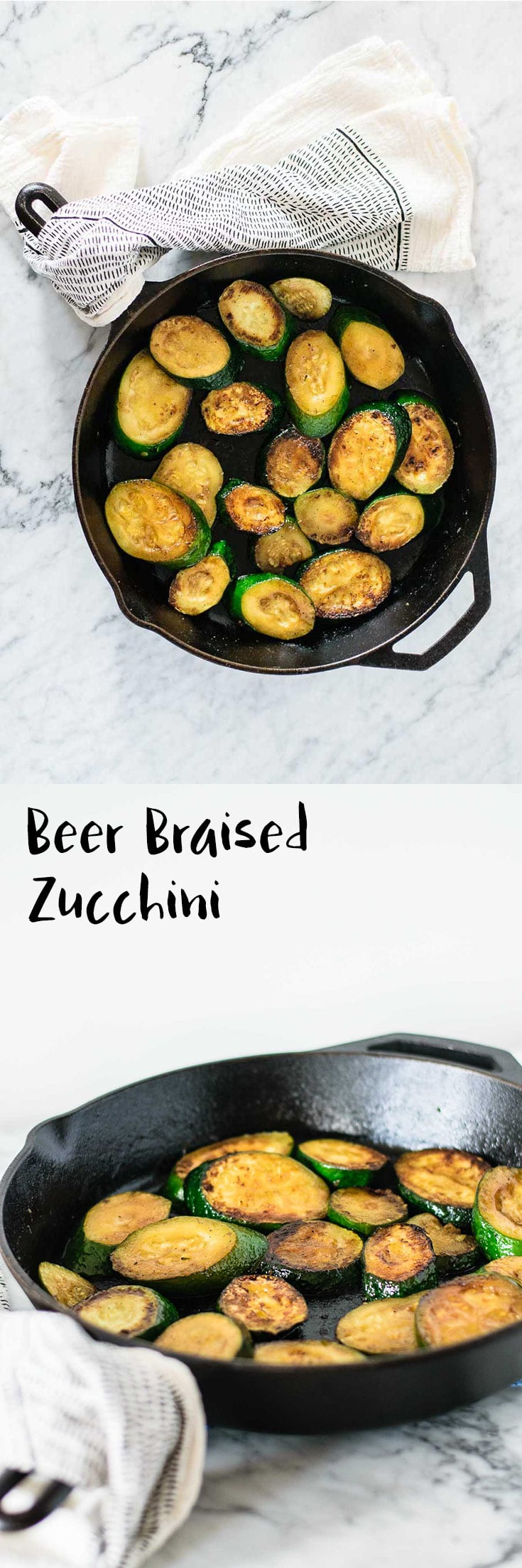 Beer braised zucchini is quick to make and delicious, only has 4 ingredients, and is the perfect accompaniment for so many summertime meals!   thecuriouschickpea.com