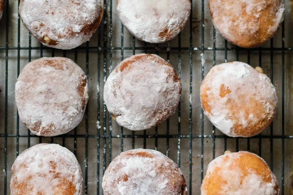 coconut ginger custard filled doughnuts