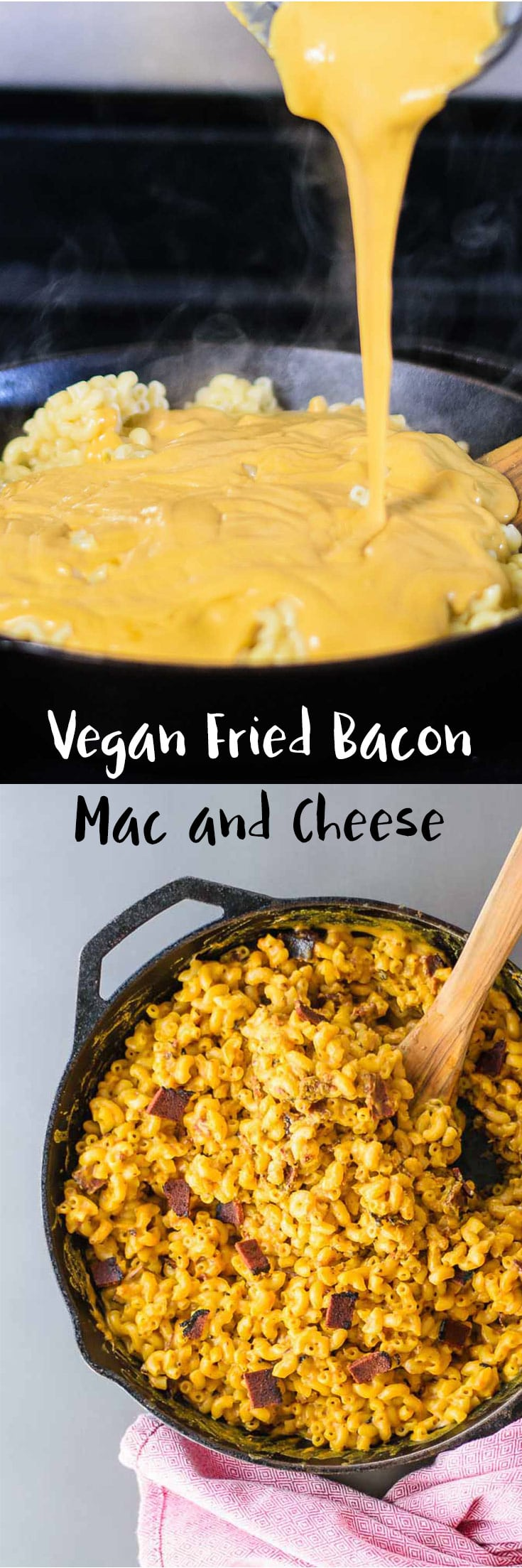 Vegan Fried Bacon Mac & Cheese | Macaroni is tossed in a creamy vegan cheese sauce and fried alongside seitan bacon for a delicious and indulgent-tasting meal. | thecuriouschickpea.com