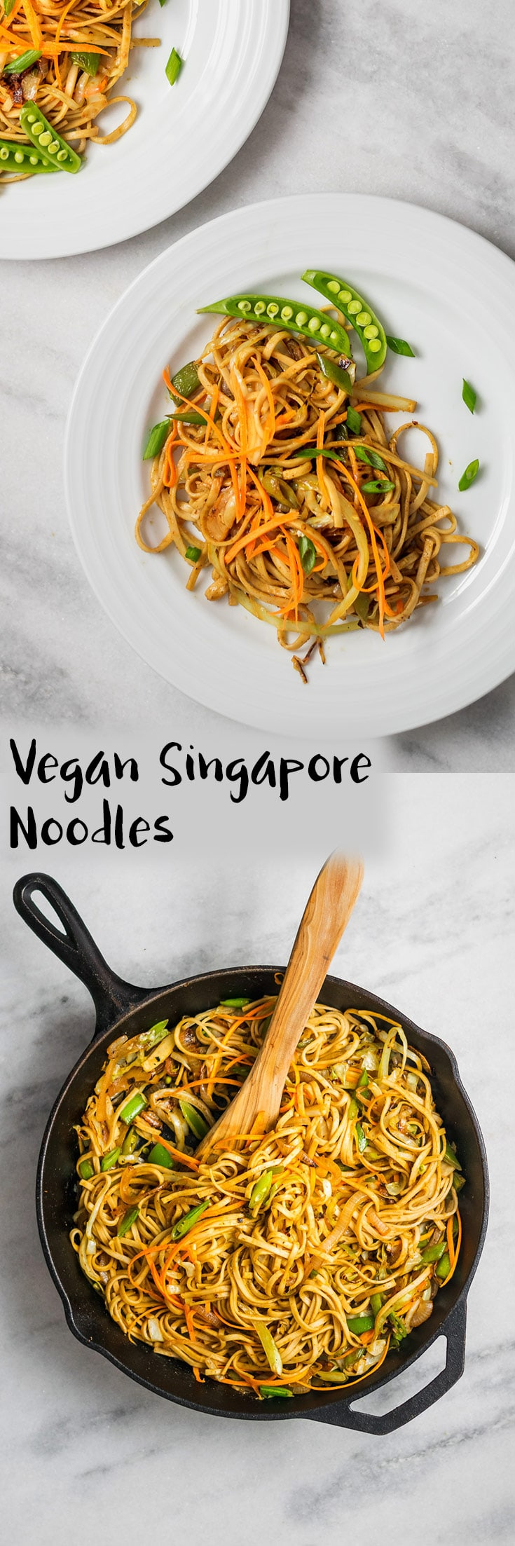 A vegan adaptation of Singapore noodles, a popular cantonese dish. This recipe is ready in just 30 minutes and is so versatile and you can change the vegetables to what you have in your produce drawer!   thecuriouschickpea.com