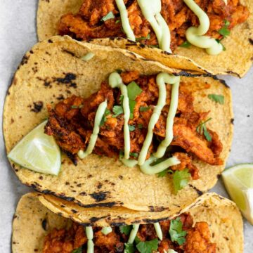closeup of vegan tinga tacos