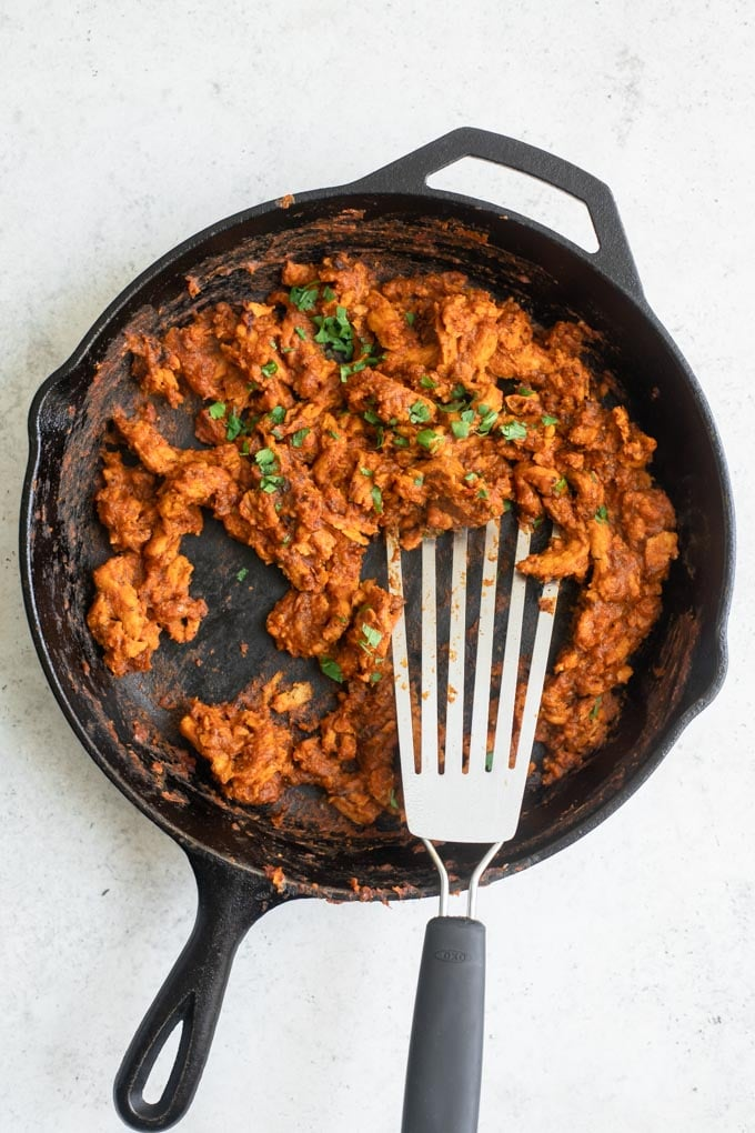 vegan tinga soy curls in skillet