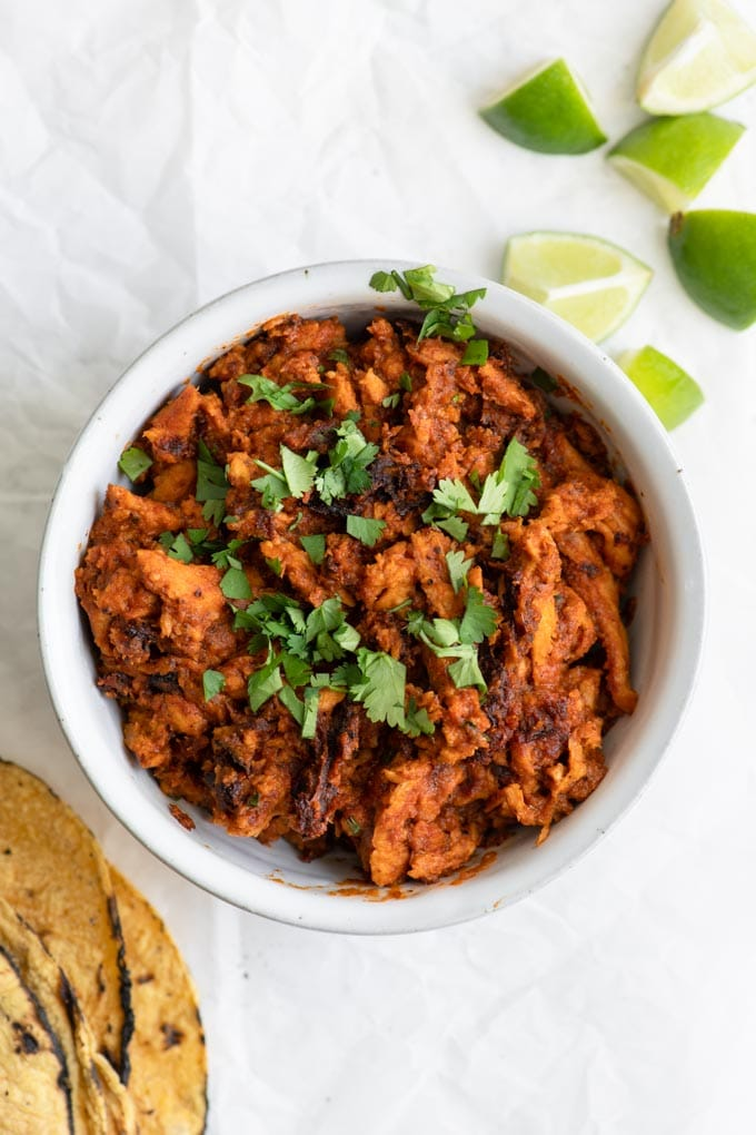 vegan tinga soy curls and warmed tortillas