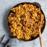 vegan fried mac and cheese in cast iron skillet