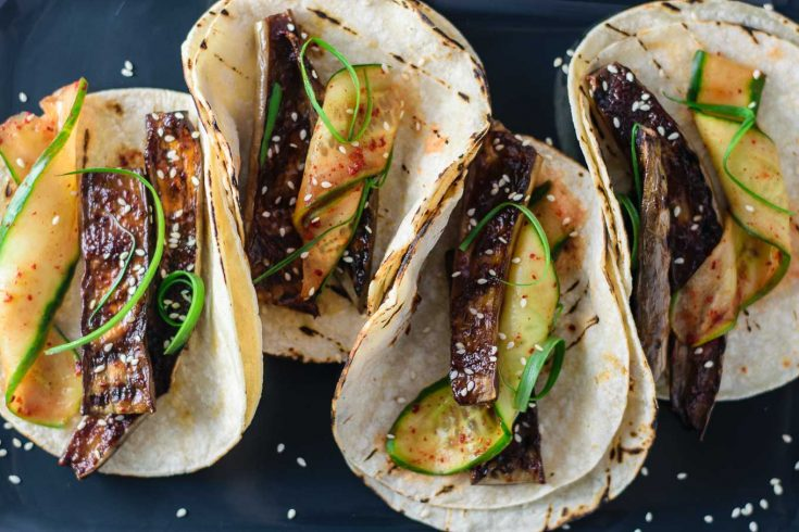 miso-glazed eggplant tacos with marinated cucumbers