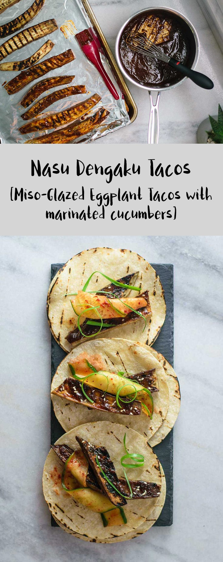 Miso Glazed Eggplant Tacos | Traditional Japanese miso glazed eggplant (nasu dengaku) are stuffed into corn tortillas, along with crisp chili marinated cucumber for a delicious and fun meal. This 30 minute meal is vegan and gluten free. | thecuriouschickpea.com #vegan #Japanese #tacos