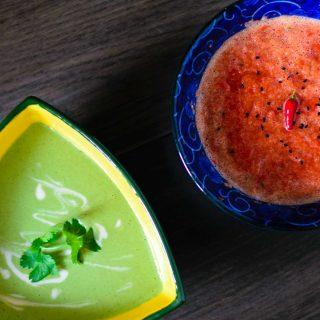 afghan chutney 2 ways: cilantro chutney & red pepper chutney