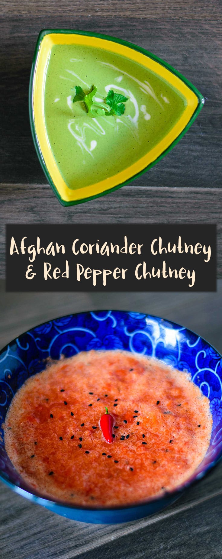 Afghan Coriander Chutney is creamy, garlicky and a bit spicy while Red Pepper Chutney is sweet and spicy. These two easy Afghan chutneys are the perfect accompaniment to your meal! | thecuriouschickpea.com #vegan #glutenfree #Afghanfood