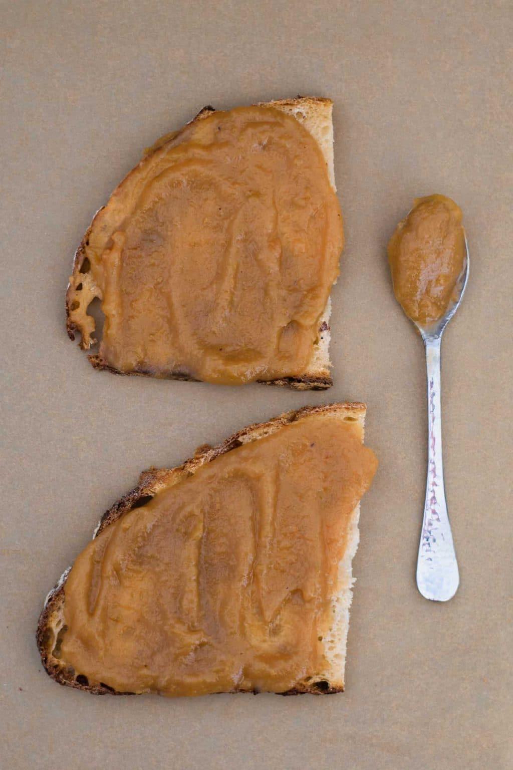 apple butter spread on bread