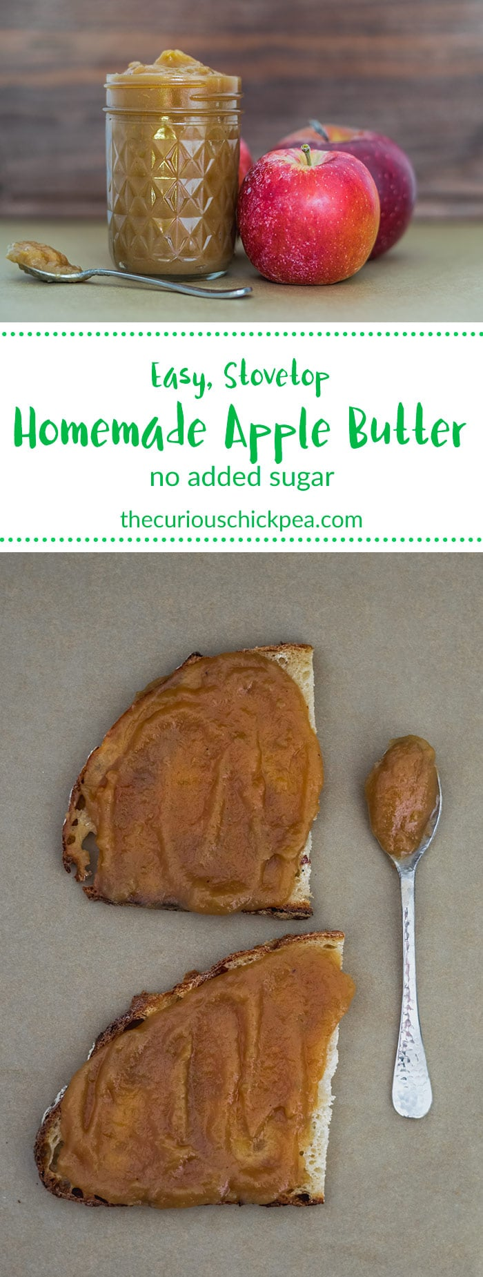 Easy Stovetop Apple Butter | This apple butter is perfectly sweet and tart with no added sugar. It cooks slowly on the stove to a buttery texture and is bursting with apple flavor. | thecuriouschickpea #vegan #apples #dessert