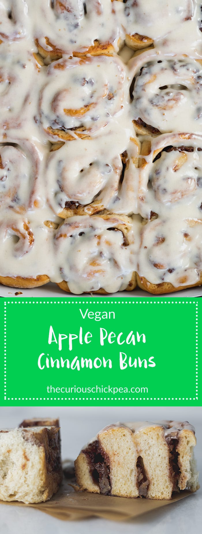 Apple Pecan Cinnamon Buns | Vegan, oversized cinnamon buns, stuffed full of apple butter and toasted pecans. They're ready in just over 2 hours and are the perfect treat! | thecuriouschickpea.com #vegan #cinnamonbuns #cinnamonrolls