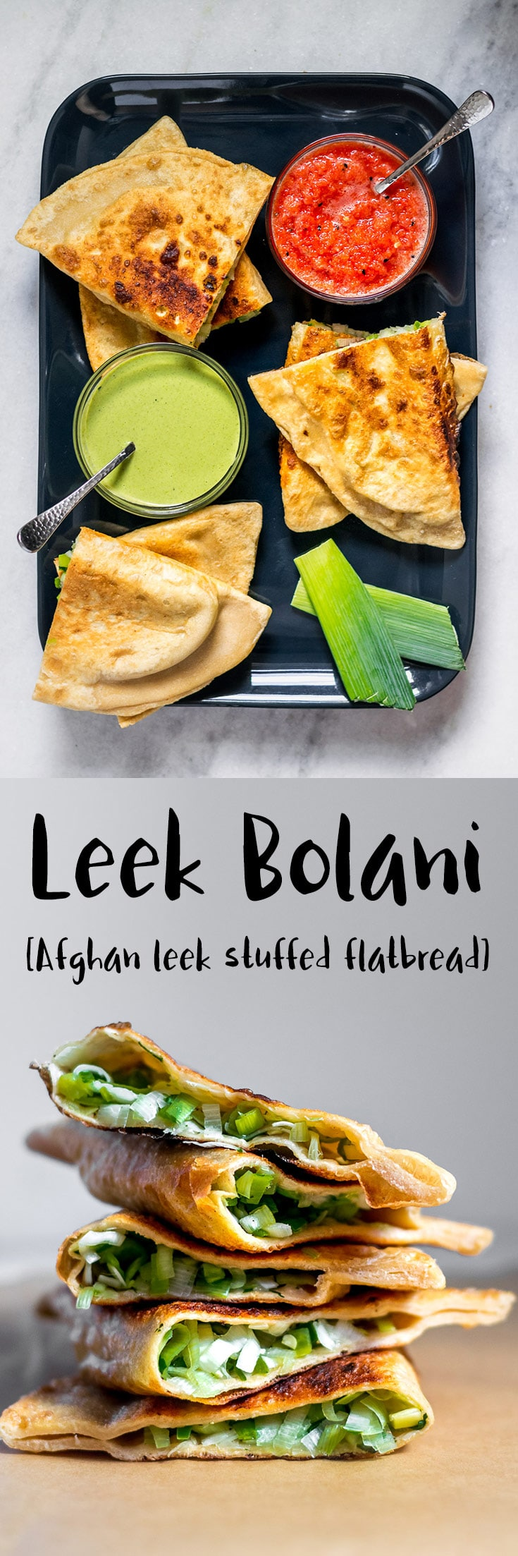 Leek Bolani are a delicious oniony and peppery stuffed flatbread from Afghanistan. They're easy to make and perfect to serve as a snack or appetizer alongside some chutney for dipping. | thecuriouschickpea.com #vegan #Afghanfood