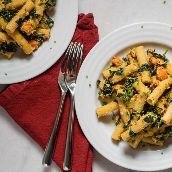 vegan tahini pasta skillet with sweet potato and kale