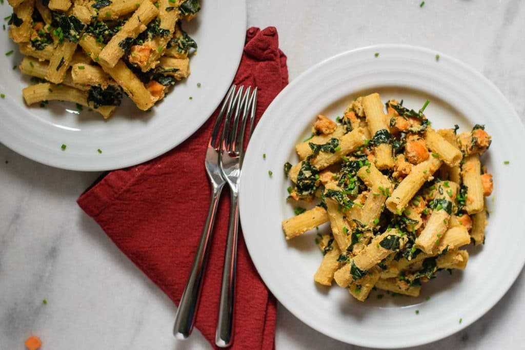 vegan tahini pasta skillet with sweet potato and kale