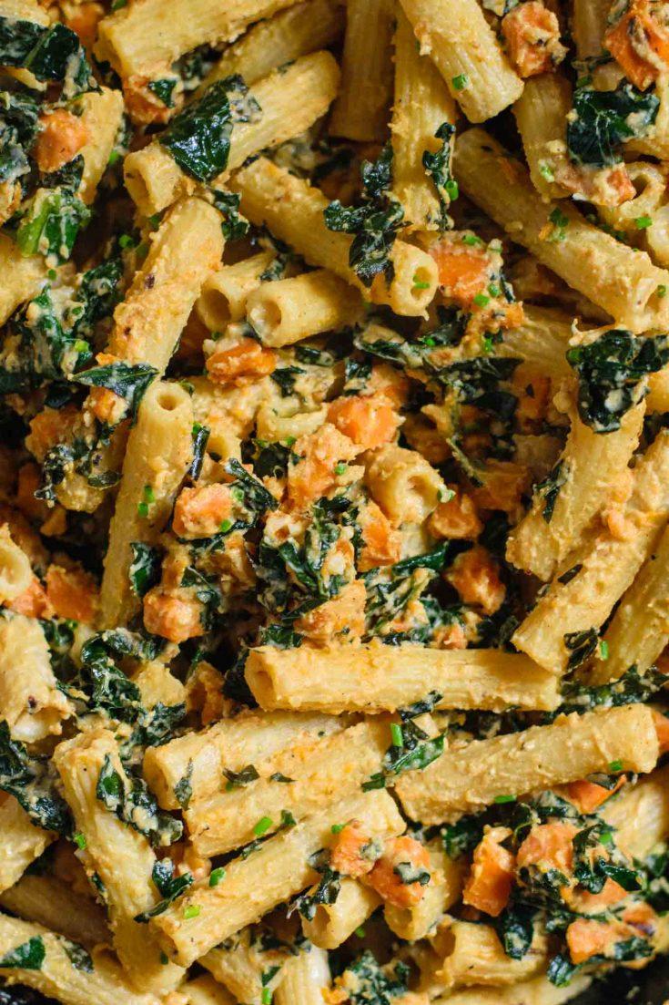 Tahini pasta skillet with sweet potato and kale   thecuriouschickpea.com #vegan #pasta #veganpasta #tahini #sweetpotato #kale