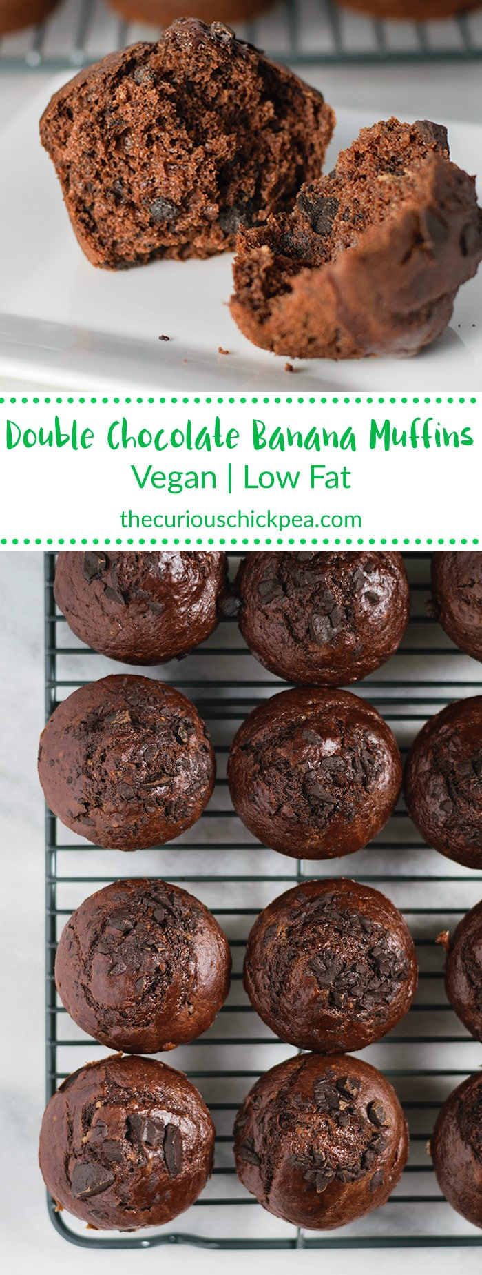 Double Chocolate Banana Bread Muffins | A vegan, ultra chocolatey, low fat, rich and indulgent tasting treat. They're quick and easy to whip up and freeze wonderfully. | thecuriouschickpea.com #vegan #muffins #breakfast #chocolate